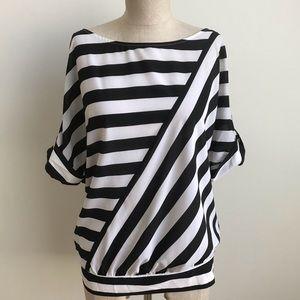🆕 WHBM Diagonal Stripe Blouse